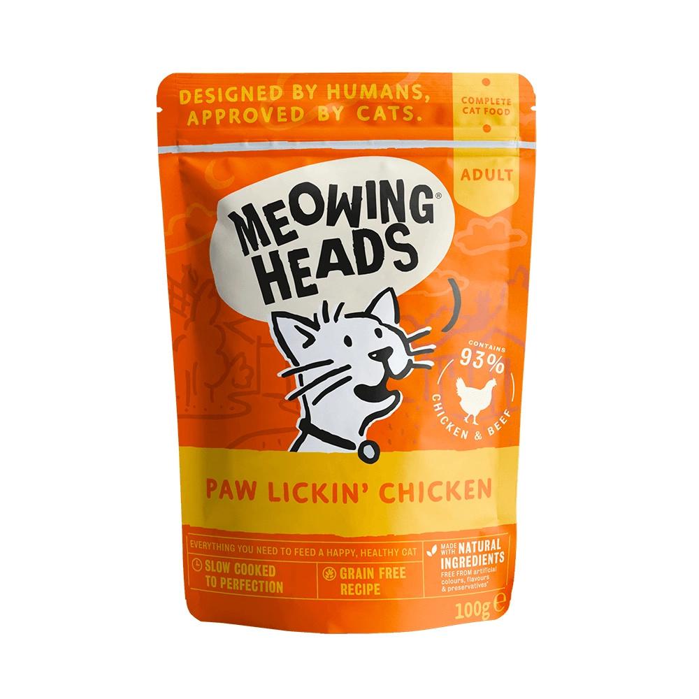 MEOWING HEADS  PAW LICKIN' CHICKEN saszetka dla kotów Kurczak i Wołowina 100g