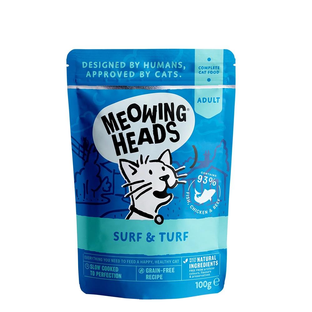 MEOWING HEADS SUPURRR SURF & TURF saszetka dla kotów Ryba, Kurczak i Wołowina 100g