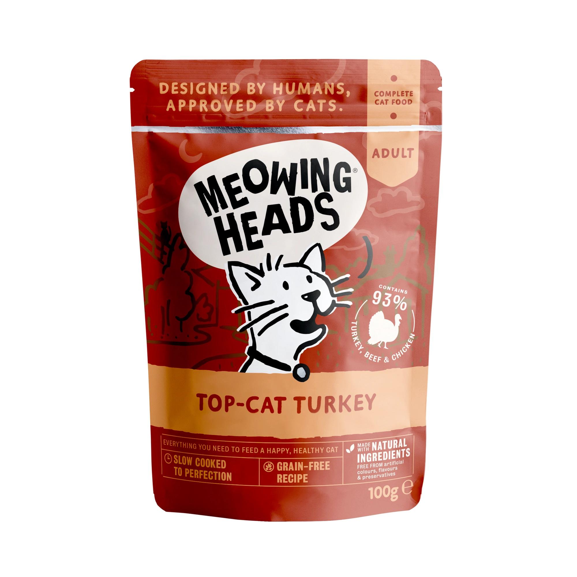 MEOWING HEADS TOP CAT TURKEY saszetka dla kotów Indyk, Wołowina i Kurczak 100g