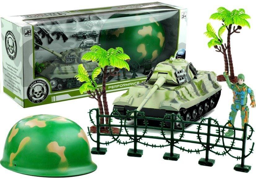 Duży Zestaw Militarny Wojsko Hełm Czołg + 17 Elem