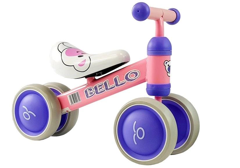 Rowerek Biegowy Bello z Podwójnymi Kółkami Różowy
