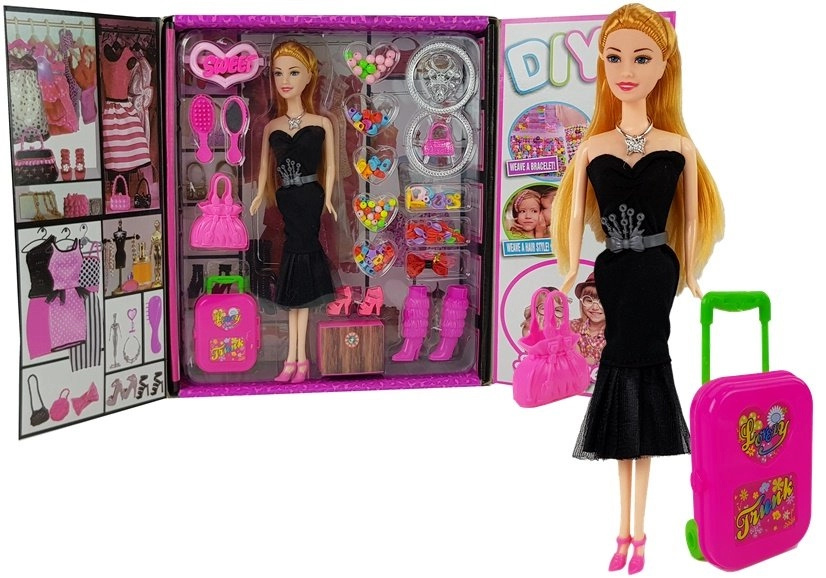 Garderoba Szafa z Lalką w Sukni  Biżuteria Koraliki 28cm