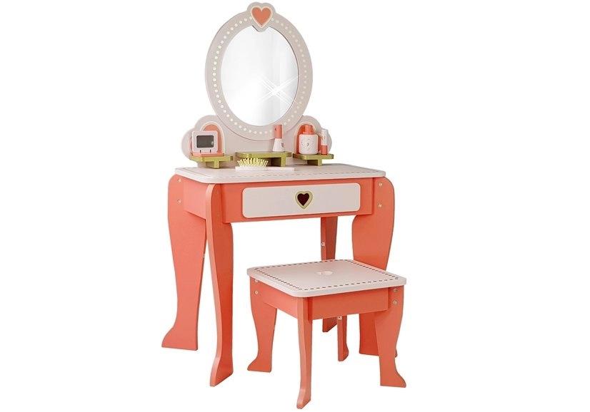 Toaletka Drewniana Różowa Serduszka Lustro