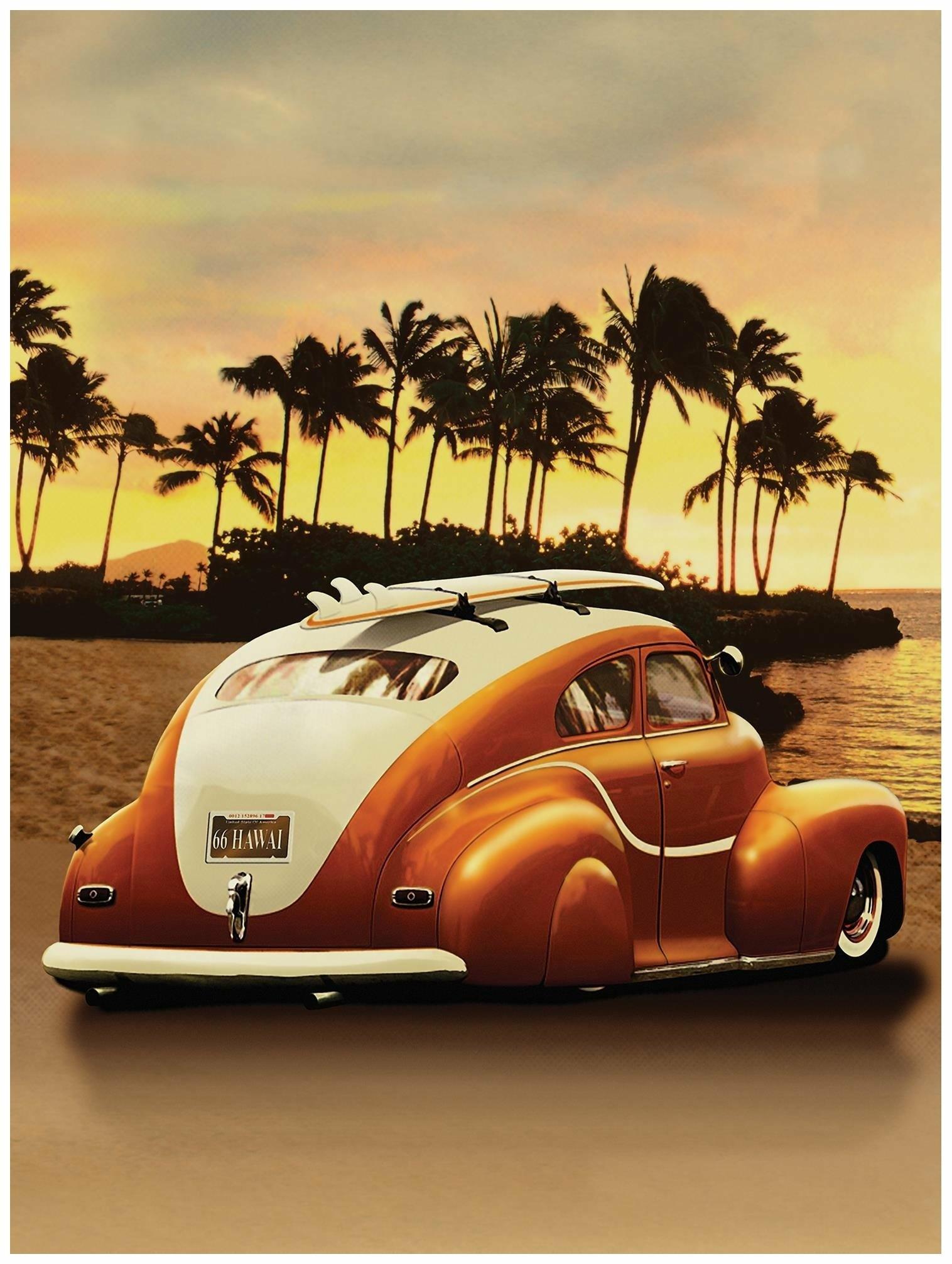 Fototapeta plaża palmy samochód fototapety