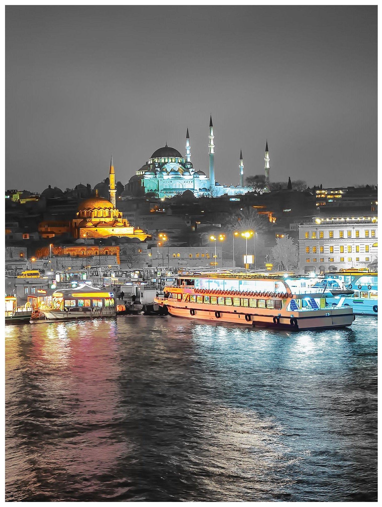 Fototapeta morze miasto nocą fototapety