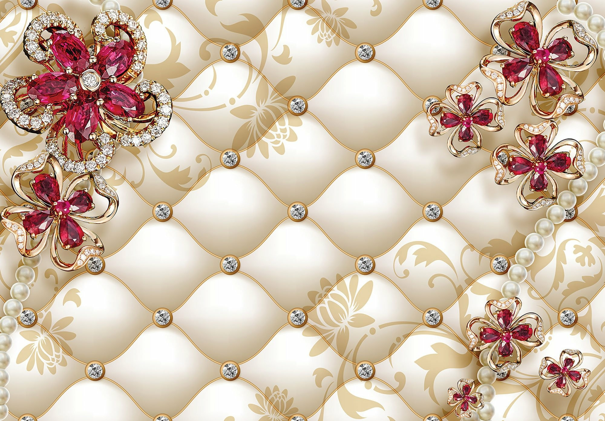 Fototapeta 3D pikowana kwiaty fototapety