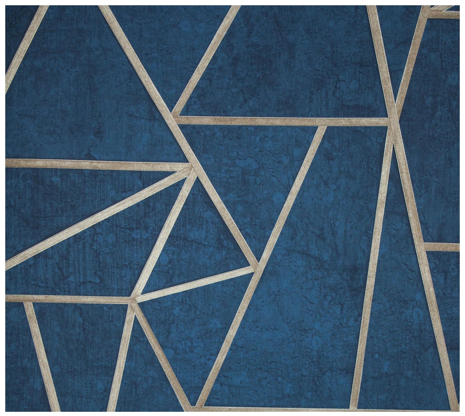 TAPETA geometryczna beton niebieski styl Soho