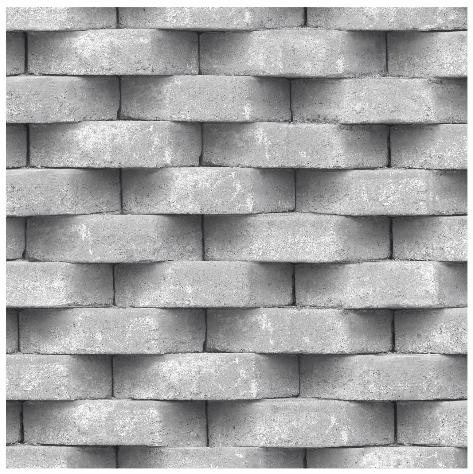 Tapeta 3D cegła na scianę winylowa beton szara