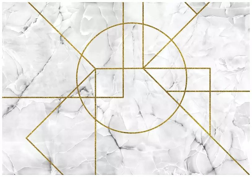 Fototapeta 3D marmur złote linie pasy