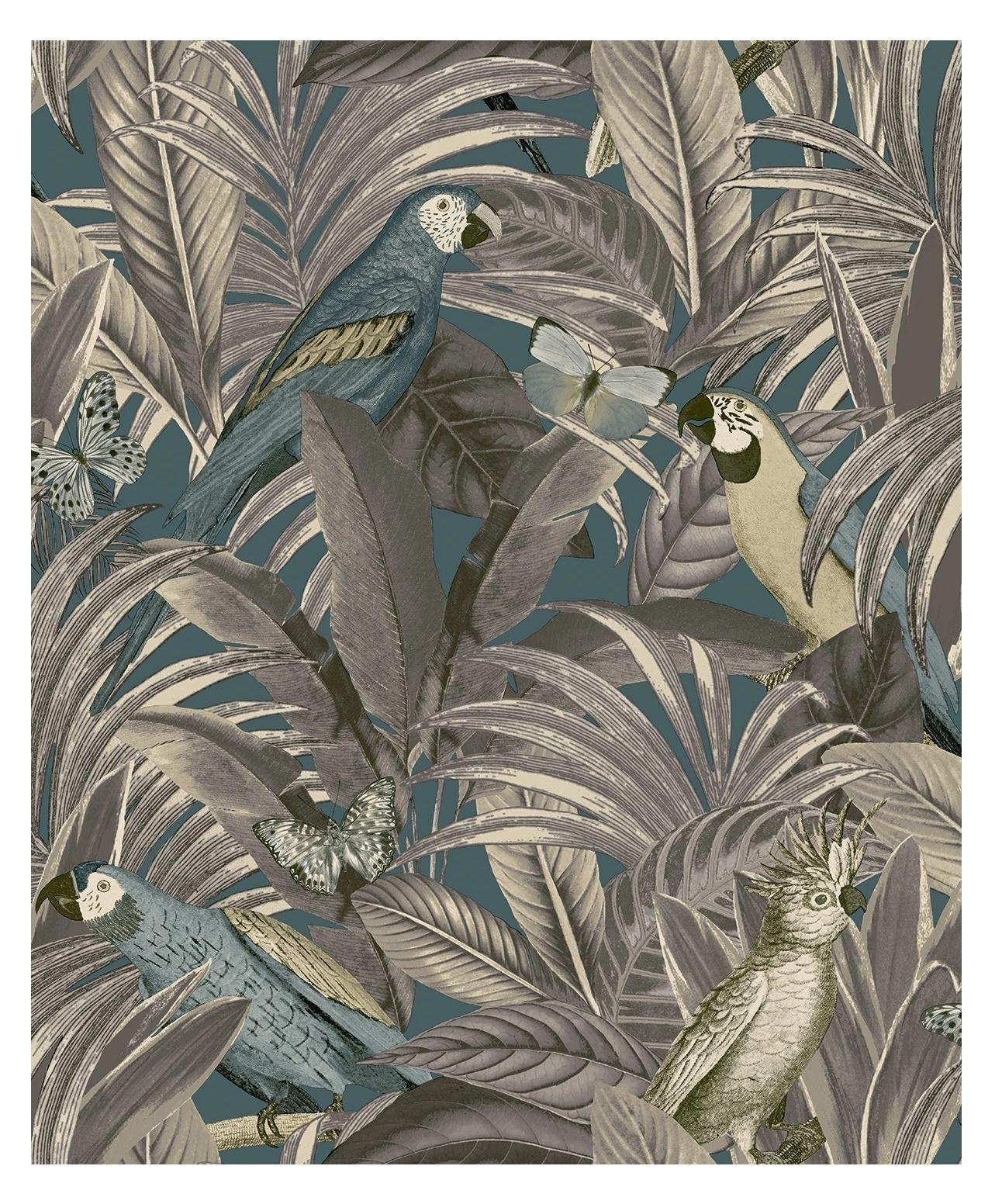 Tapeta na ścianę LIŚCIE dżungla MOTYLE papugi FLIZ