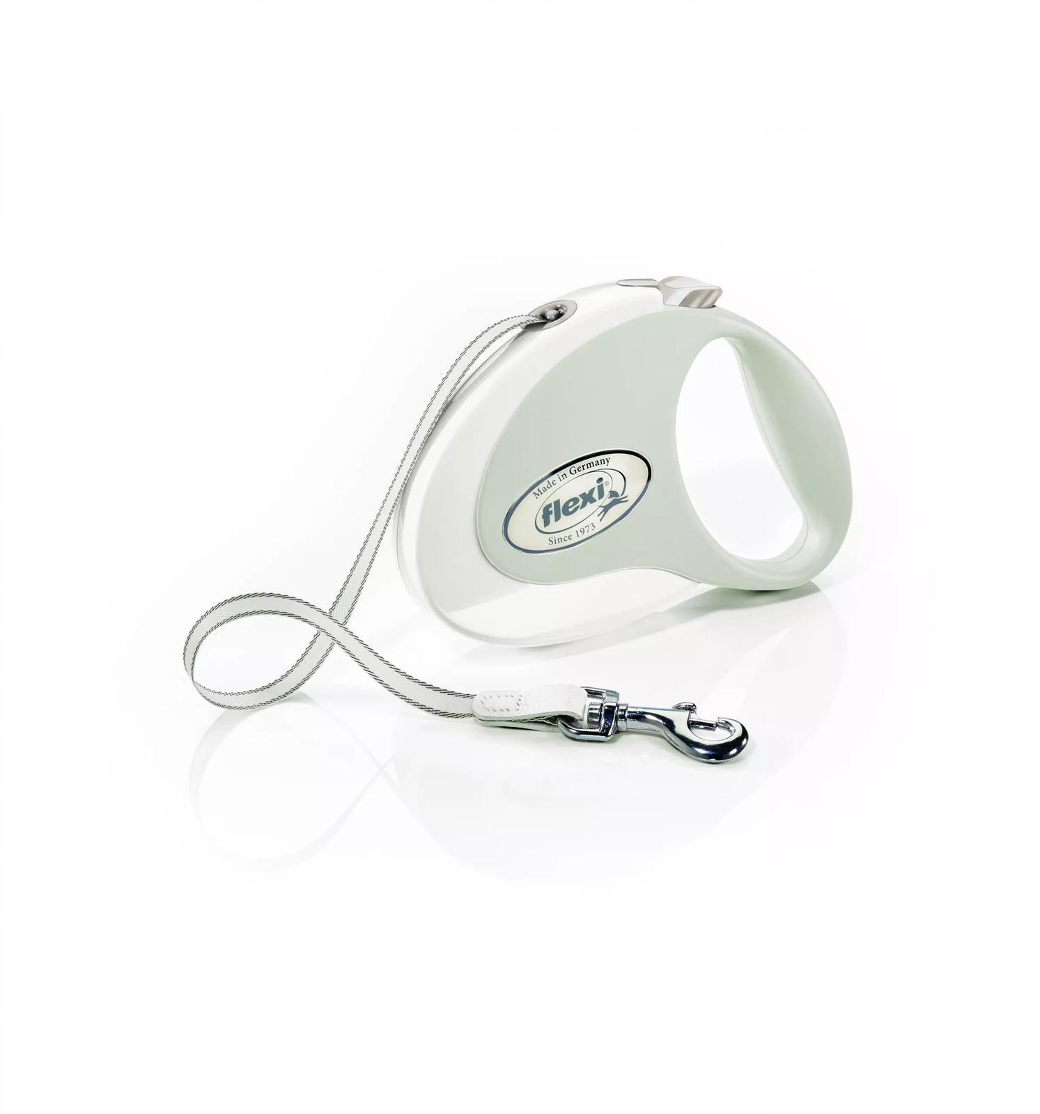 FLEXI Smycz automatyczna Style M taśma 5 m biały